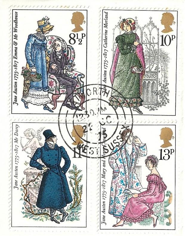Пощенски марки в чест на Джейн Остин от 1975 г. източник: austenonly.com