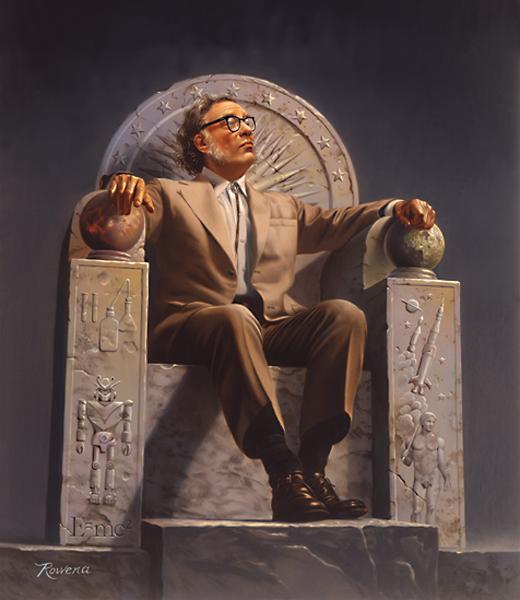 Роуена Морил изобразява Азимов на трон, украсен със символи на житейските му дела източник: Уикипедия