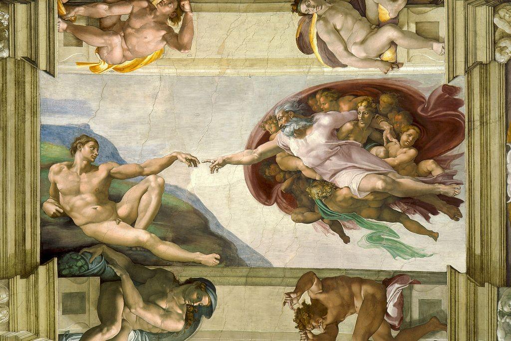 Сътворението на Адам - Микеланджело източник: Уикипедия