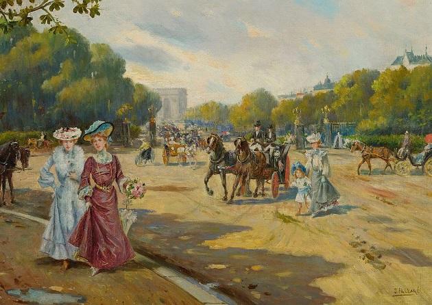 La porte Dauphine vue depuis le Bois de Boulogne en 1872 Joaquín Pallarés Allustante (1853-1935) — Sotheby's източник: Уикипедия