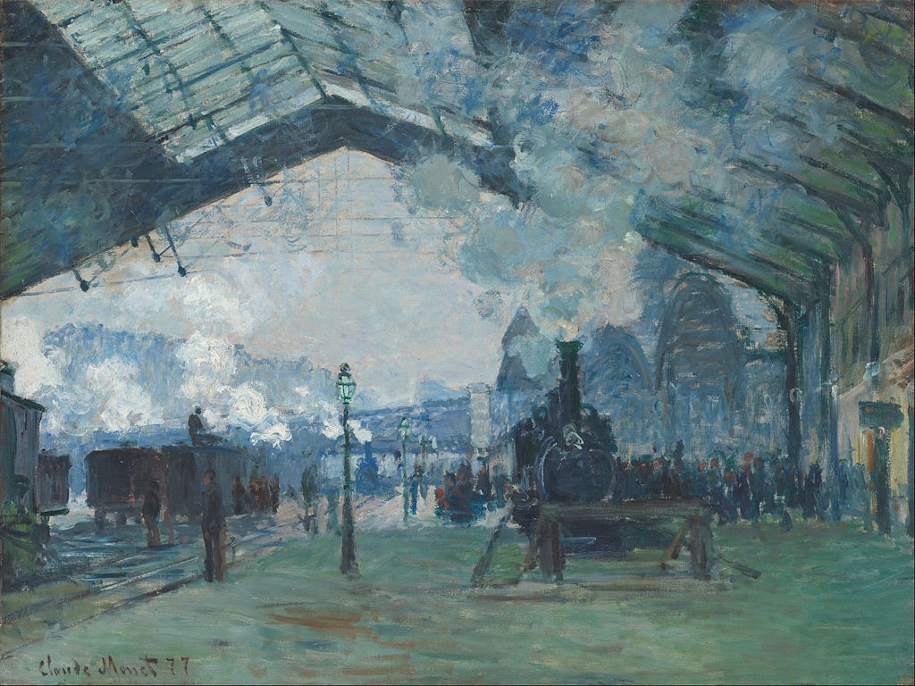 La Gare Saint-Lazare, le train de Normandie - Клод Моне Картината се намира в Institut d'art de Chicago в САЩ.
