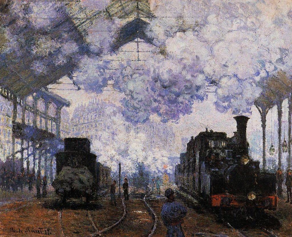 La Gare Saint-Lazare, arrivée d'un train - Клод Моне Картината се намра в Fogg Art Museum в САЩ.