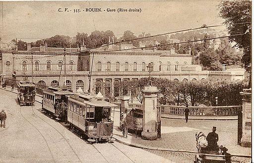 ЖП линията в Руан през 1910 г. източник: Уикипедия