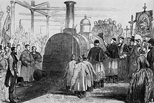 Церемония по откриване на първата жп линия между Париж и Хавър - 1844 г.  източник: Уикипедия