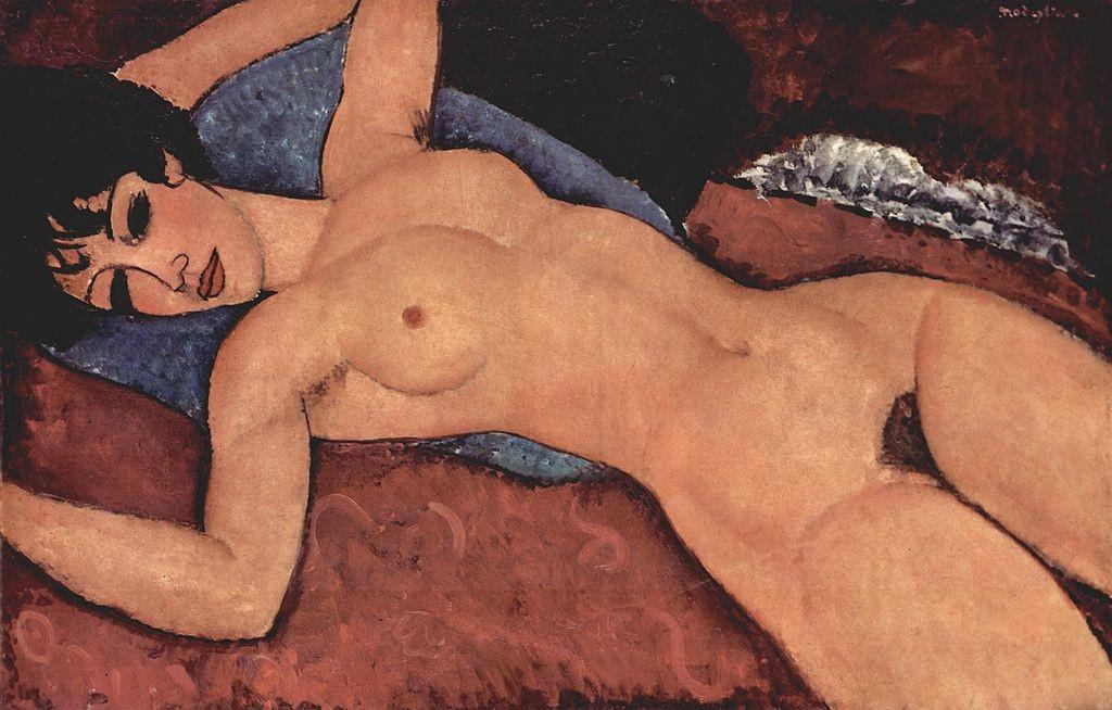 """""""Легнала гола жена"""" (Nu couché) на италианския художник Амедео Модиляни"""
