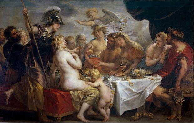"""""""Златната ябълка на раздора"""" (1633) художник: Якоб Йорданс"""