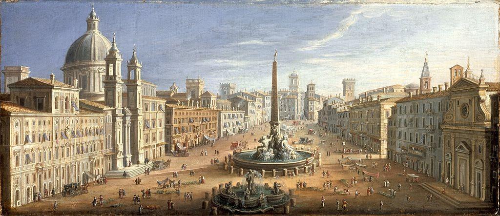 Пиаца Навона през 1730 година Hendrik Frans van Lint [Public domain], via Wikimedia Commons