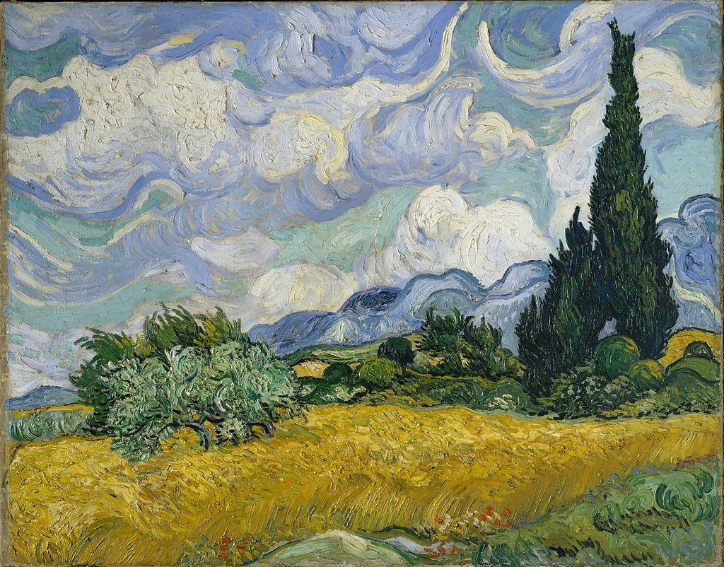 """Винсент ван Гог, """"Пшенична нива с кипариси"""""""