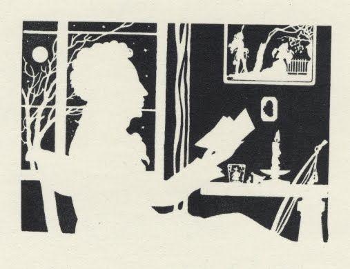 Пушкин - силует, 1949 г. източник: http://bibliodyssey.blogspot.bg/