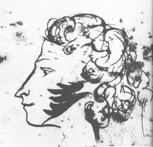 Пушкин, автопортрет 1827-1830 г.