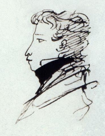 Пушкин, автопортрет 1821-1822 г.