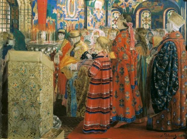 Руски жени от 17 век в църквата (1899)