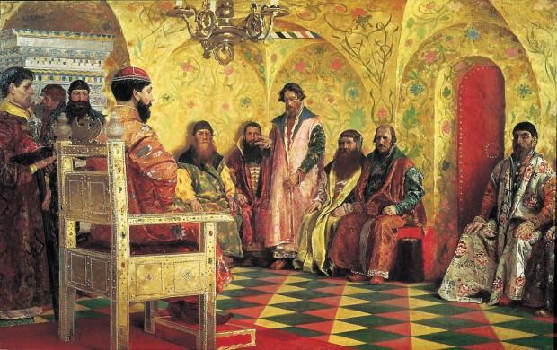 Заседание на цар Михаил Фьодорович с болярите в стаята на суверена (1893)
