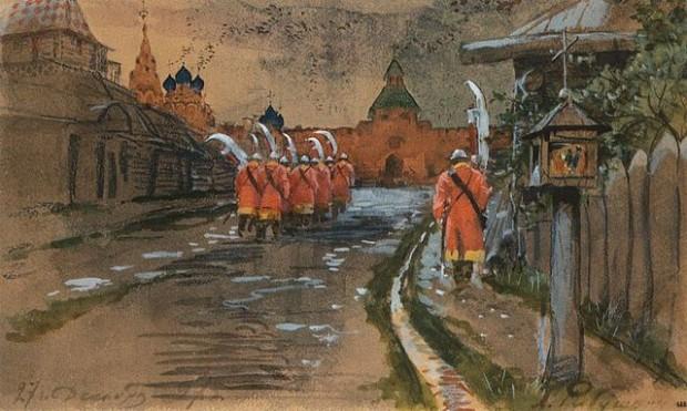 Стрелкови патрул при Илинската порта на стара Москва (1897)