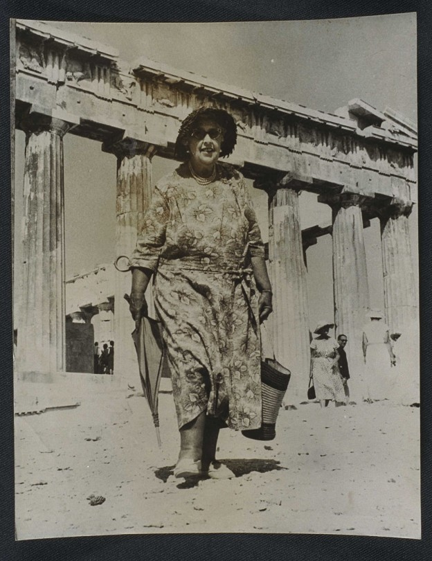 Agatha_Christie_visits_the_Acropolis,_1958._(7893554162)