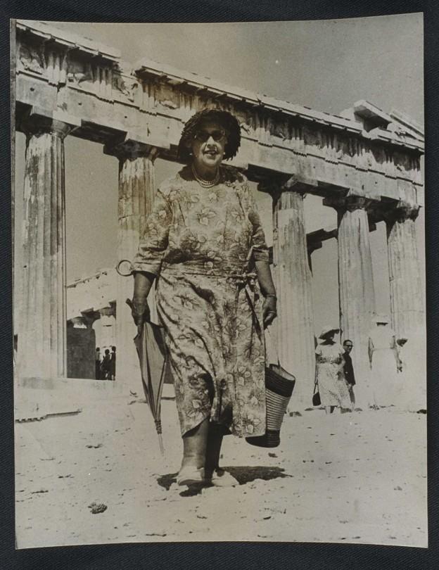 Agatha_Christie_visits_the_Acropolis,_1958._(7893554162)