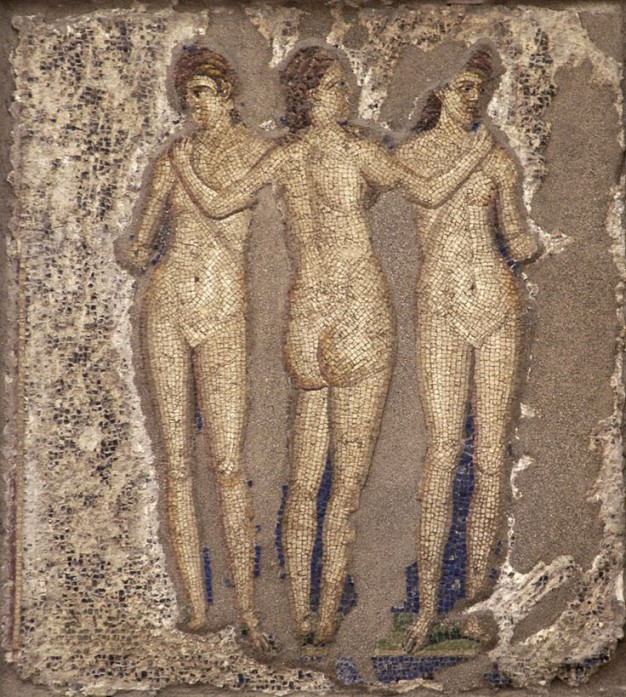 Naples, National Archaeological Museum. Three Graces. Mosaic from Pompeii.