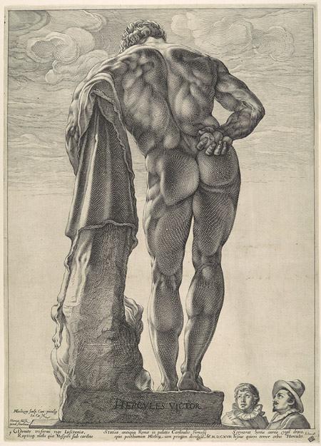 Гравюра на статуята на Херкулес от 1617 г.