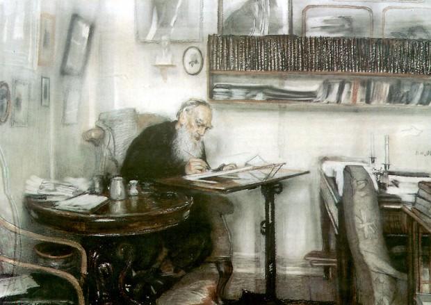 Лев Толстой работи в библиотеката си в Ясна поляна художник: В. Н. Мешков