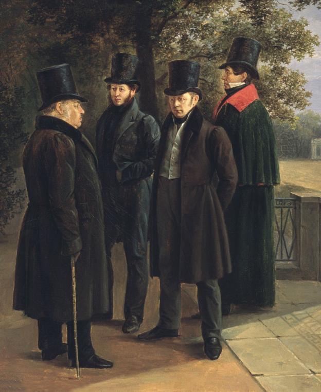 Портрет на Иван Крилов, Александър Пушкин, Василий Жуковски и Николай Гнедич (1832) художник: Григорий Чернецов