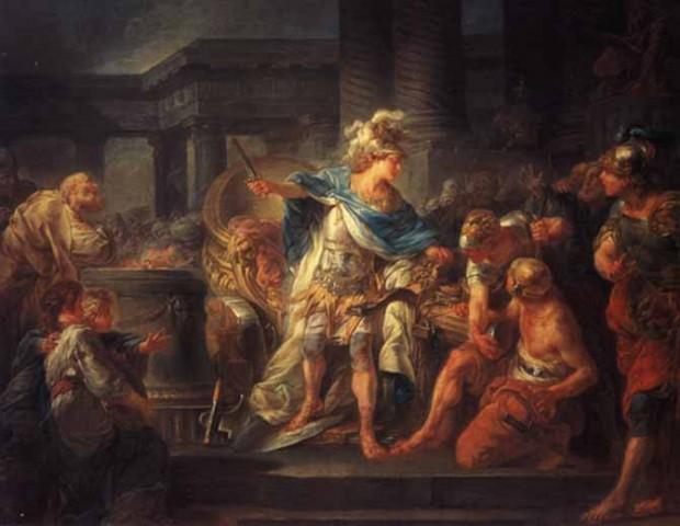 Александър разсича гордиевия възел  художник: Жан-Симон Бартелеми (1743–1812)