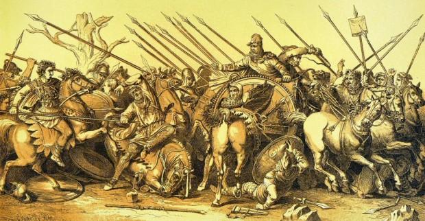 Битката при Иса Стара реконструкция на мозайката с Александър Македонски  източник: Уикипедия