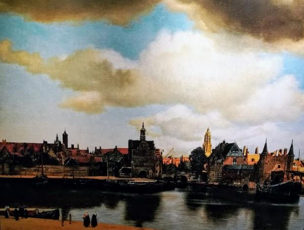 """""""Изглед от Делфт""""  художник: Вермеер репродукция във Vermeer centrum Delft"""