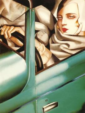 """""""Автопортрет, Тамара в зелено Bugatti"""" (1929)"""