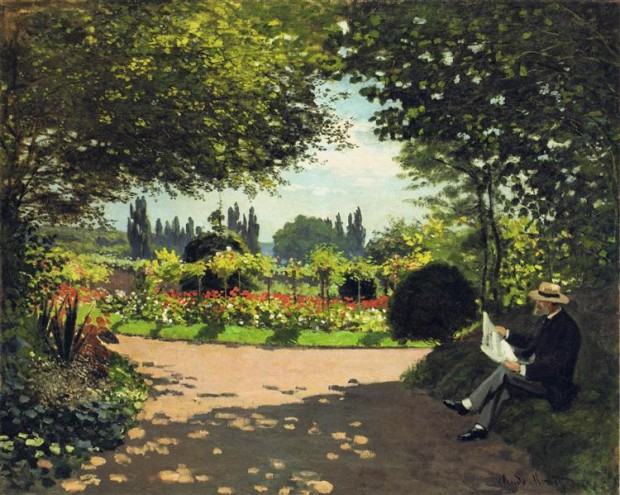 """""""Адолф Моне чете в градината"""" (1866) художник: Клод Моне източник: https://www.wikiart.org/"""