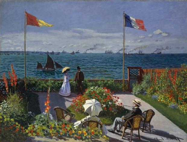 "Градина в Сент-Адрес"" (1867) художник: Клод Моне  източник: wikiart.org"