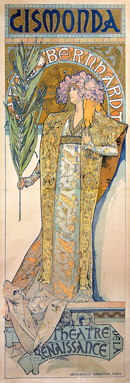 """Плакатът за постановката """"Жисмонда"""" със Сара Бернар, който прави Алфонс Муха световноизвестен"""