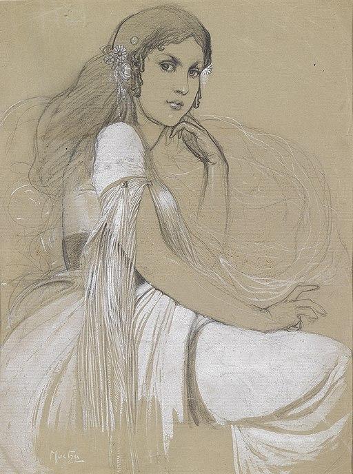 Ярослава Муха, нарисувана от Алфонсо Муха през 1920 г.