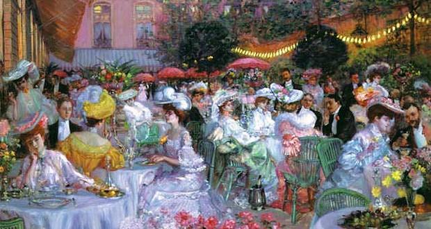 """""""Терасата на хотел Риц в Париж през 1908 г."""" - Пиер-Жорж Жанио  La terrasse de l'Hôtel Ritz de Paris, en 1908, par Pierre Georges Jeanniot"""