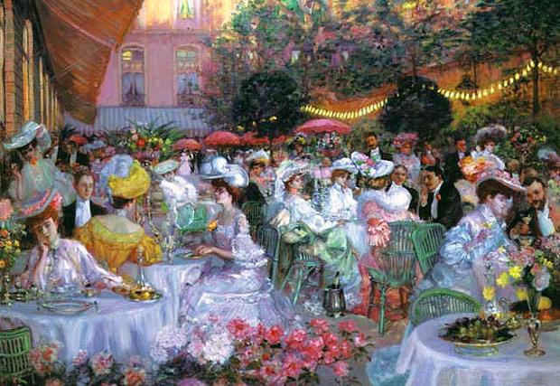 """""""На терасата на хотел Риц в Париж през 1908 г."""" - Пиер-Жорж Жанио La terrasse de l'Hôtel Ritz de Paris, en 1908, par Pierre Georges Jeanniot"""