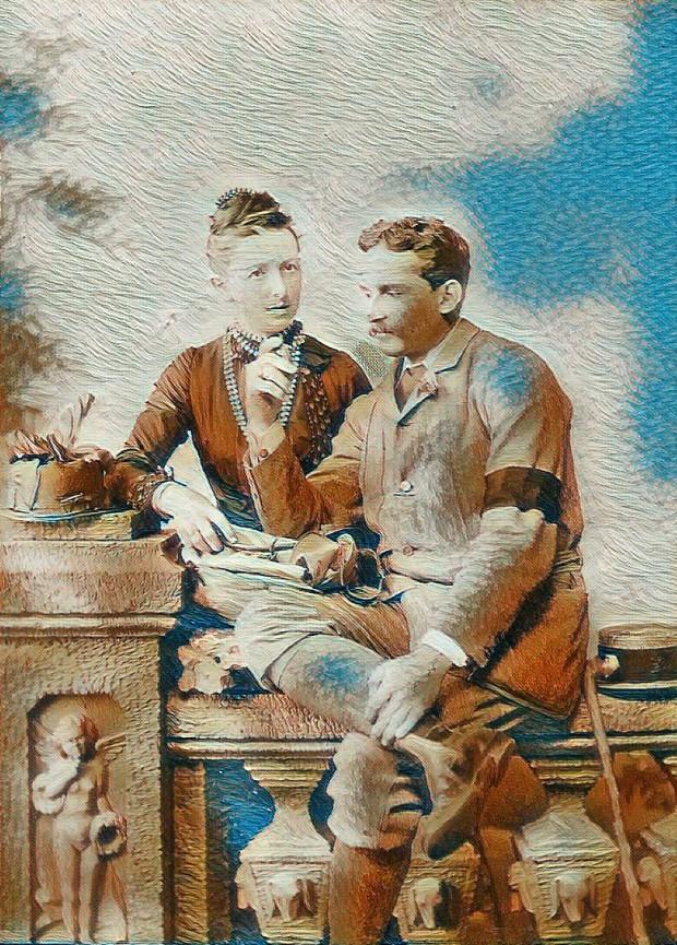 Сър Артър Евънс и съпругата му Маргарет