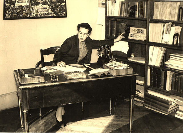 Dorothy Reeder at her desk